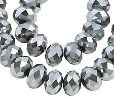 STRAND FACETED GLASS CRYSTAL RONDELLE BEADS, SILVER COLOUR, 10 X 8 MM