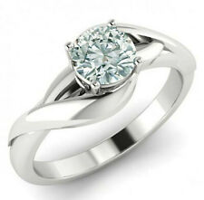 Moissanite Diamond Solitaire Ring 925 Silver 1.22 Ct Vvs1:Round Ice Blue White