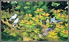 """Balinese Painting """"Bluebirds & Starlings in the Flowers"""" (30.75"""" H x 51"""" W)"""