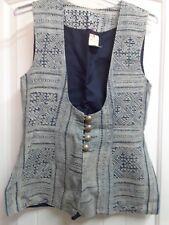 Unbranded Tribal Hippie Blue Cream Vest NWT - Size M