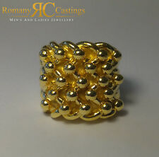 Highly Polished 5 Row Keeper Jewellers Bronze Ring Dipped in 9ct Gold Size U