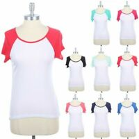 Color Block Raglan Short Sleeve Baseball T Shirt Casual Round Neck Top S M L