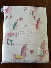 NIP POTTERY BARN KIDS MAGICAL UNICORN ORGANIC TWIN SHEET SET FLANNEL 3PC