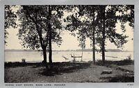 Bass Lake Indiana~Bathing Scene East Shore~Dock~1930s Silver Border~Wayne Paper