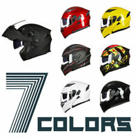 Flip up Modular Full Face Motorcycle Helmet for Adults 2 Visor 7 Colors Ledlight