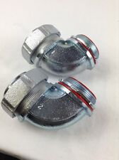 "QTY 2 MALLEABLE IRON LIQUID TIGHT CONNECTORS 90° INSULATED LI-9200 2"" FREE SHIP"