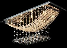 Modern Chandelier Ceiling Light Fitting Pendant Lamp Cascading Crystal Droplets