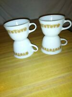 4 Vintage Corning Corelle Butterfly Gold White Coffee Cups  Mugs