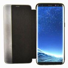 SLIM BOOK BLACK Leather Flip Case Cover Pouch Membrane Samsung Galaxy S8 Plus