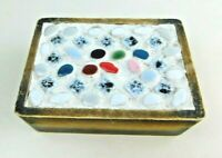 Wooden Stone &Tiled Top Trinket Box Made In Japan Vintage