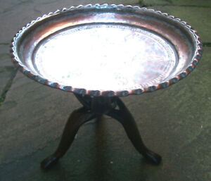ANTIQUE ISLAMIC FOLDING TRIPOD SIDE TABLE WITH  COPPER TRAY TOP