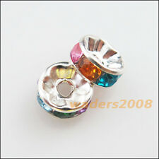 50 New Charms Colors Acrylic Rondelle End Spacer Beads Connectors 8mm