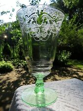 Cambridge Goblet Etch 520 Vaseline Stem 3095 Vintage Iced Tea FREE PM SHIPPING