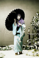 GEISHA GIRL ASIAN JAPANESE UMBRELLA TINT PHOTOGRAPH VINTAGE CANVAS ART PRINT