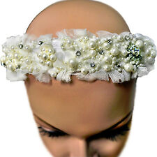 Dolce & Gabbana Kids Tulle Lace Silk Crystal Pearls Embellished Headband