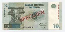 Congo Dem. Rep. 10 Francs 1-11-1997 Pick 87A.s UNC Specimen Banknote G&D