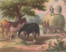 Antique 19thC Bufford Lithograph Color Print~WELCOME SHELTER~Horses~Haying c1880