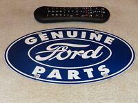 """VINTAGE GENUINE FORD PARTS 11 3/4"""" PORCELAIN METAL CAR TRUCK GASOLINE & OIL SIGN"""