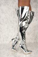 Women Metallic Mirror Pointy Toe Chic Thigh High Heel Over The Knee Boots Silver