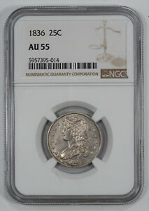 1836 CAPPED BUST QUARTER 25C SILVER NGC CERTIFIED AU 55 ABOUT UNC (014)