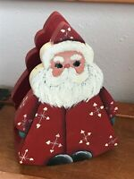 Estate Hand Painted Wood Wooden Red & White Santa Claus Napkin Holder – 7 inches