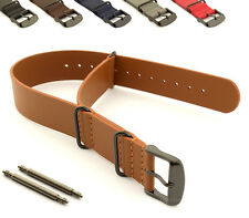 Military Genuine Leather Watch Strap Band NATO PVD Buckle 18 20 22 24 G10 MM