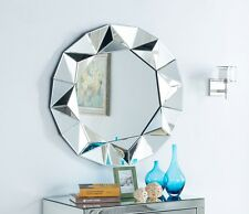 Large Modern Wall Mirror Silver Round Venetian Abstract Frame Style 3FT (90cm)