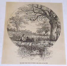 1882 magazine engraving ~ The First Warm Days Of Spring ~ includes poem on back