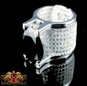 Men 4k White Gold Finish Solitaire Style Black Simulated Lab Diamond  Ring Band