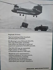 6/1969 PUB BOEING CHINOOK CH-47C PAYLOAD 12 TONS MILITARY TRUCK ORIGINAL AD