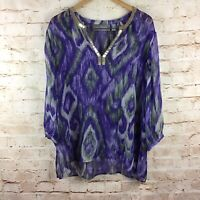 Chico's Travelers Womens Purple Embellished Semi Sheer Top Blouse Size 3 XL