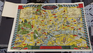 ANTIQUE NEW PICTORIAL MAP OF LONDON 1934 GEOGRAPHIA VINTAGE CINEMA THEATRE 1930s