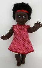 "Australian Aboriginal Doll Girl Black 35cm or 13"" Pink Dress"
