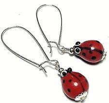 Long Wired Ladybird Earrings Glass Bead Drop Dangle Tibetan Silver Style UK MADE