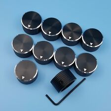 10Pcs Aluminum 25 x 15.5mm Black 6mm Dia Rotary Control Potentiometer Cap Knob