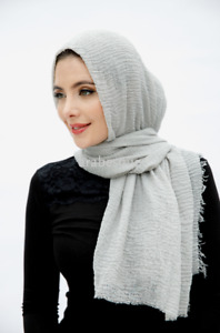 Viscose Crinkle Long Hijab/Scarves - available in a variety of colours
