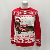 NEW Red White Dexter The Dachshund Dog Christmas Jumper Unisex Size S/M/L B31649