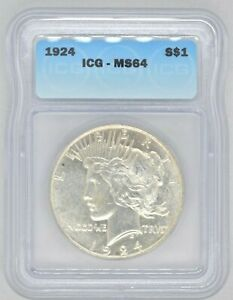 1924 P ICG Certified MS64 Peace Dollar