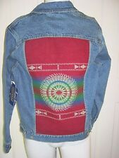 Pendleton Western Wear Wool Indian Blanket Back Denim Blue Jean Jacket Mens XS