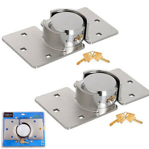 2 X VAN LOCK GARDEN SHED 73MM SECURITY PADLOCK AND HASP SET CHROME PLATED SECURE