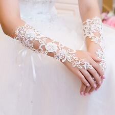Bridal Gloves Rhinestone Lace Flower White Bride Wedding Fingerless