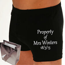 PERSONALISED Boxer shorts PROPERTY OF? or ANY TEXT? Bride to Groom Wedding gift