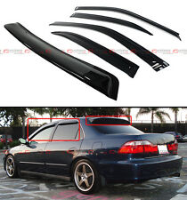 FOR 98-02 ACCORD 4 DR SEDAN REAR DARK TINT WINDOW ROOF VISOR + SIDE VISOR COMBO