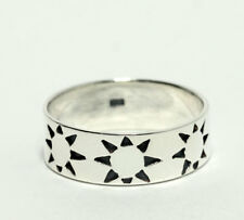 Vintage Sterling Silver Diamond Cut Sun Band Ring Size 12