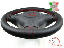 FOR CHEVROLET S10 BLAZER 83-94 BLACK LEATHER STEERING WHEEL COVER, RED 2 STIT