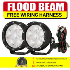 OSRAM NEW 5 INCH Round LED Driving Lights Work Floodlights Offroad 4WD SUV Black