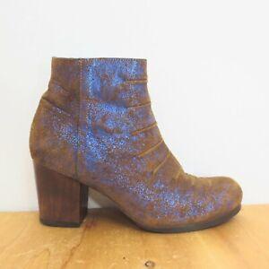 8 - Calleen Cordero $568 Brown Suede Metallic Pleated Heeled Boots EUC 4427SC