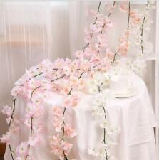 144 Heads Artificial Cherry Rattan Fake Flower Hanging Wedding Decor Garland UK