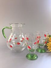 Beautiful Individually Hand Painted Strawberry Jug & Goblets