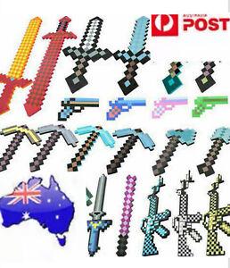 Australia Based Premium Minecraft Game Foam Diamond Sword Pickaxe Toy Kids Gift